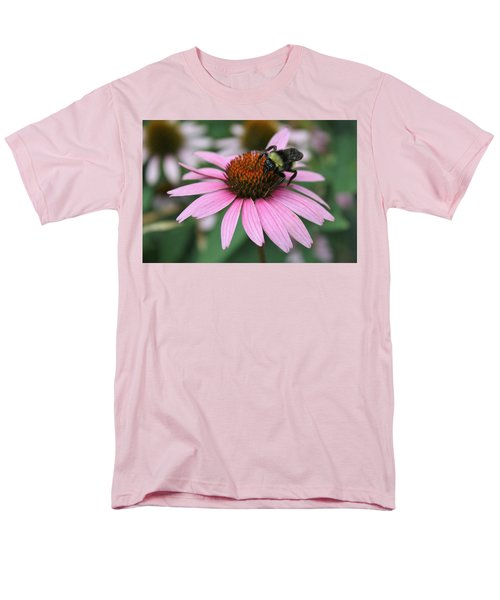 Bumble Bee On Pink Cone Flower Men's T-Shirt  (Regular Fit) by Sheila Brown
