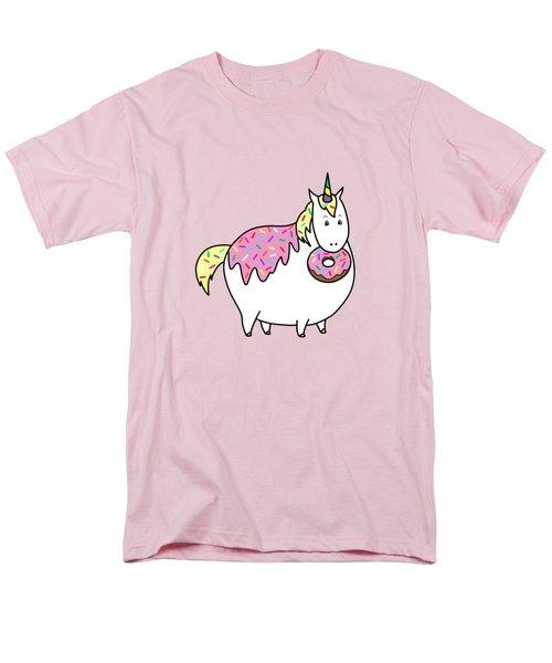 Chubby Unicorn Eating Sprinkle Doughnut Men's T-Shirt  (Regular Fit) by Crista Forest