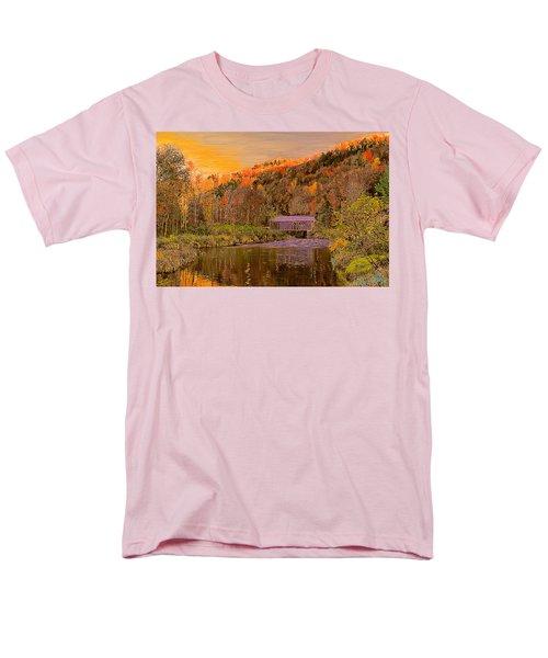 Men's T-Shirt  (Regular Fit) featuring the digital art Comstock Bridge by John Selmer Sr