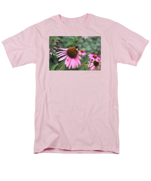 Men's T-Shirt  (Regular Fit) featuring the photograph Cone Flowers And Bee by Sheila Brown