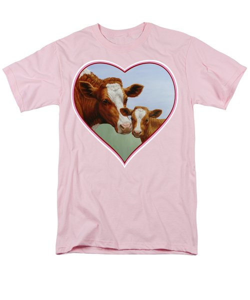 Cow And Calf Pink Heart Men's T-Shirt  (Regular Fit) by Crista Forest