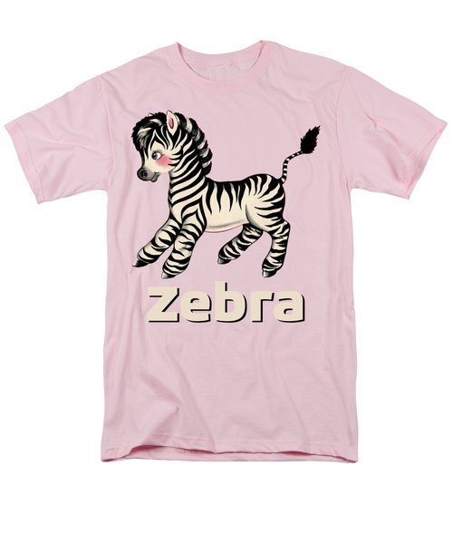 Cute Baby Zebra Pattern Vintage Book Illustration Pattern Men's T-Shirt  (Regular Fit) by Tina Lavoie