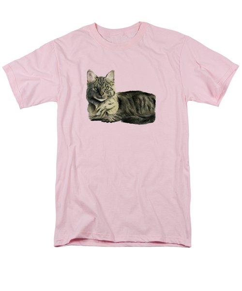 Domestic Medium Hair Cat Watercolor Painting Men's T-Shirt  (Regular Fit) by NamiBear