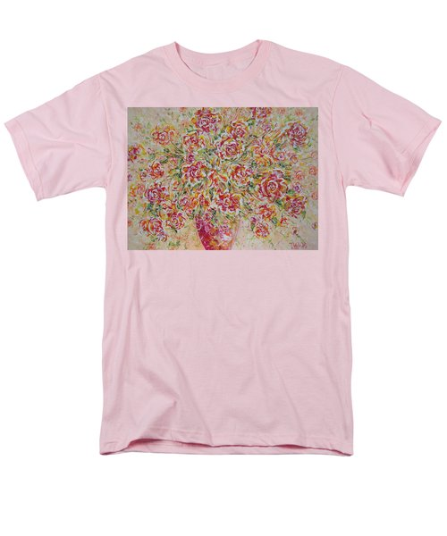 Men's T-Shirt  (Regular Fit) featuring the painting First Love Flowers by Natalie Holland
