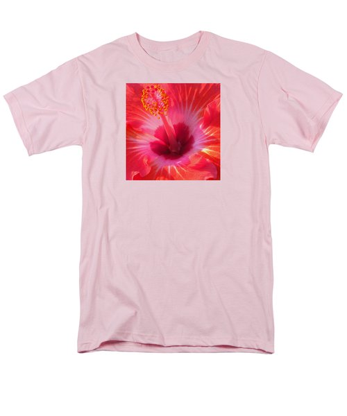 Hibiscus - Coral And Pink Square Men's T-Shirt  (Regular Fit) by Kerri Ligatich