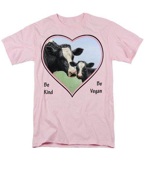 Holstein Cow And Calf Pink Heart Vegan Men's T-Shirt  (Regular Fit) by Crista Forest