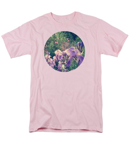 Irises And Roses In The Garden Men's T-Shirt  (Regular Fit) by Mary Wolf