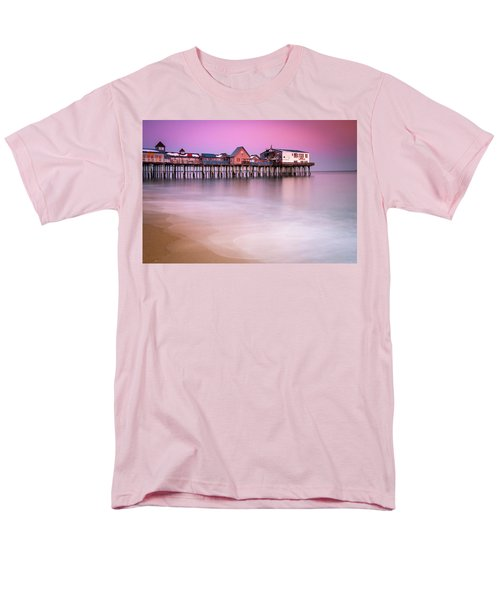 Men's T-Shirt  (Regular Fit) featuring the photograph Maine Old Orchard Beach Pier Sunset  by Ranjay Mitra