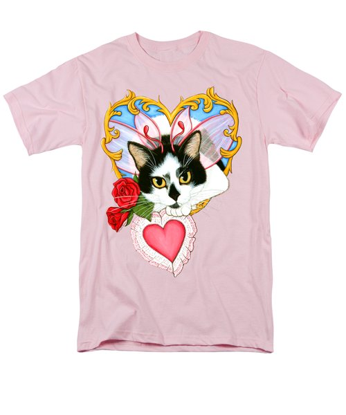 Men's T-Shirt  (Regular Fit) featuring the painting My Feline Valentine Tuxedo Cat by Carrie Hawks