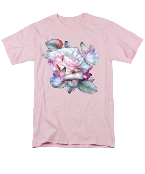 Men's T-Shirt  (Regular Fit) featuring the mixed media Pastel Rose And Butterflies by Carol Cavalaris