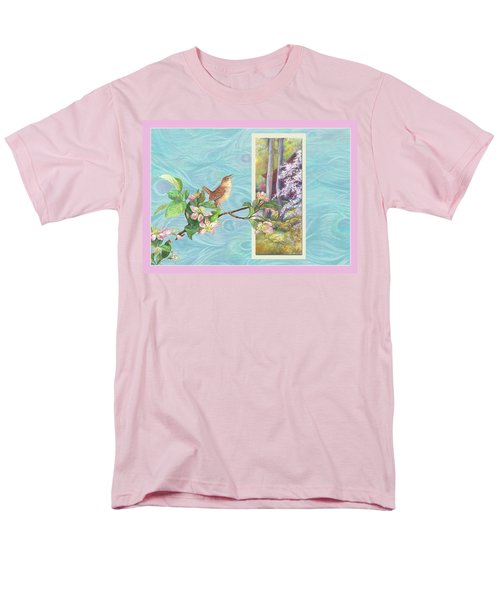 Peacock And Cherry Blossom With Wren Men's T-Shirt  (Regular Fit) by Judith Cheng