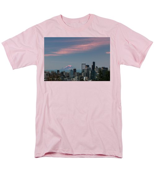 Pink Highlights Over Seattle-mt. Rainier Men's T-Shirt  (Regular Fit) by E Faithe Lester