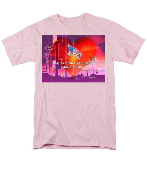 Prayers For Brussels #9726_4 Men's T-Shirt  (Regular Fit) by Barbara Tristan