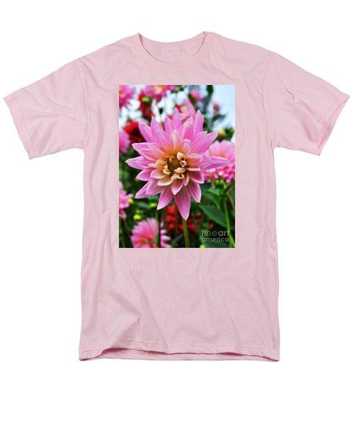 Pretty Pink Dahlia  Men's T-Shirt  (Regular Fit) by Mindy Bench