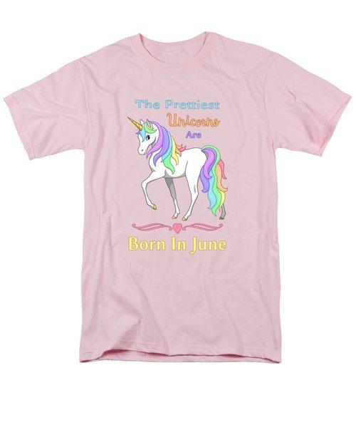 Pretty Rainbow Unicorn Born In June Birthday Men's T-Shirt  (Regular Fit) by Crista Forest