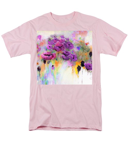 Purple Poppy Passion Painting Men's T-Shirt  (Regular Fit) by Lisa Kaiser