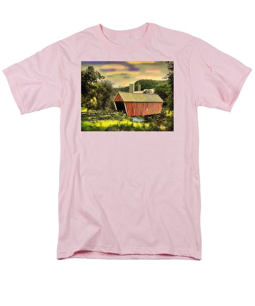 Men's T-Shirt  (Regular Fit) featuring the digital art Randolf Covered Bridge by John Selmer Sr