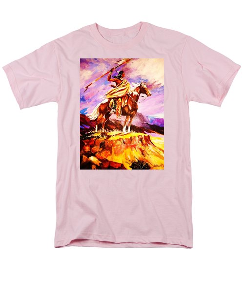 Men's T-Shirt  (Regular Fit) featuring the painting Signalling Sighting Of The Buffalo Herd by Al Brown