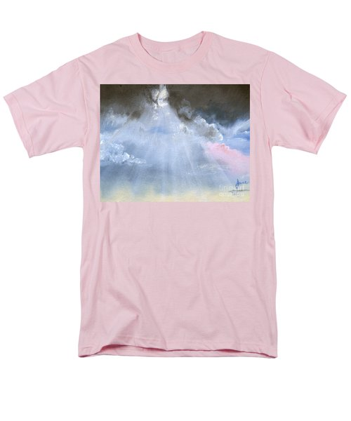Men's T-Shirt  (Regular Fit) featuring the painting Silver Lining Behind The Dark Clouds Shining by Jane Autry