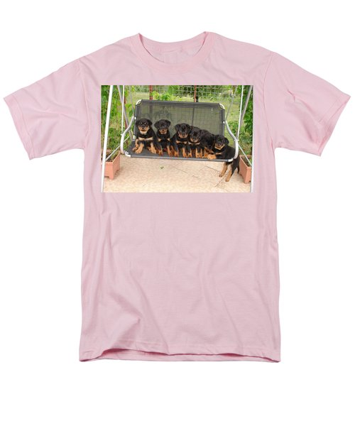 Six Rottweiler Puppies Lined Up On A Swing Men's T-Shirt  (Regular Fit) by Tracey Harrington-Simpson