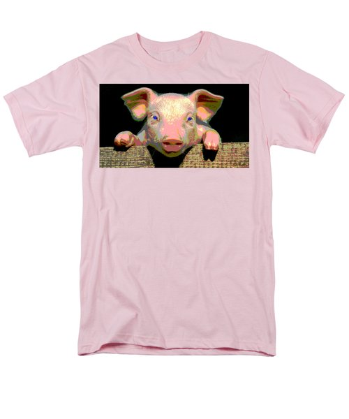 Men's T-Shirt  (Regular Fit) featuring the mixed media Smart Pig by Charles Shoup
