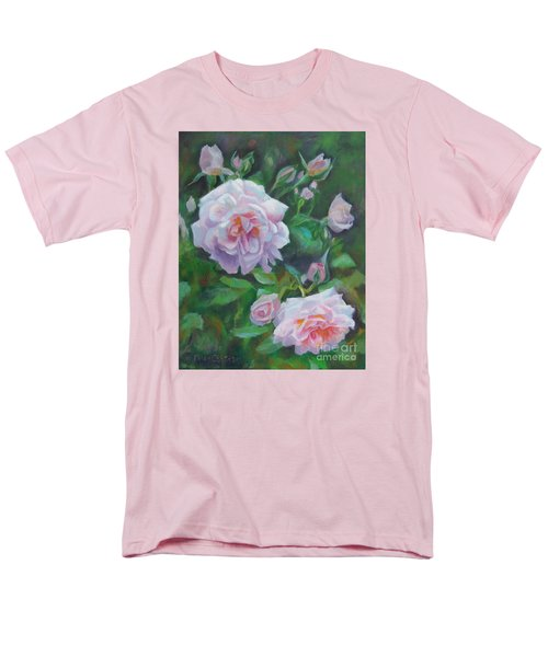 Men's T-Shirt  (Regular Fit) featuring the painting Softly Pink Roses by Karen Kennedy Chatham