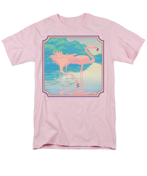 Square Format - Pink Flamingos Retro Pop Art Nouveau Tropical Bird 80s 1980s Florida Painting Print Men's T-Shirt  (Regular Fit) by Walt Curlee