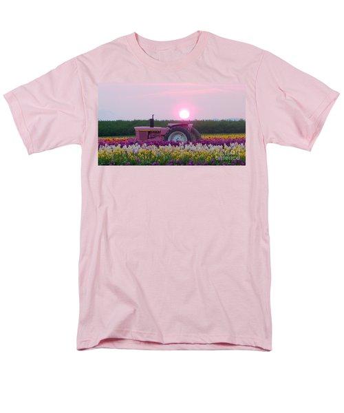 Sunrise Pink Greets John Deere Tractor Men's T-Shirt  (Regular Fit) by Susan Garren