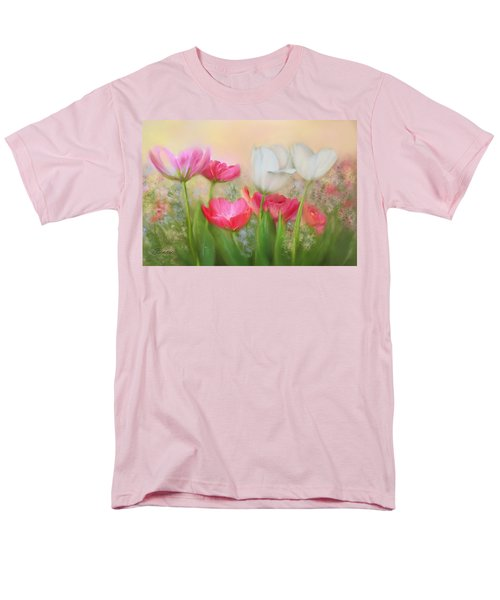 Men's T-Shirt  (Regular Fit) featuring the painting Tulip Garden by Bonnie Willis