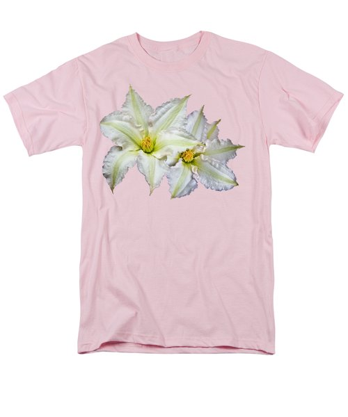 Men's T-Shirt  (Regular Fit) featuring the photograph Two Clematis Flowers On Pale Purple by Jane McIlroy