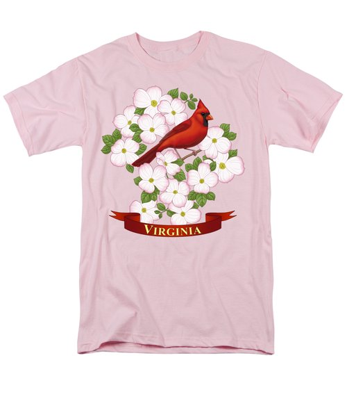 Virginia State Bird Cardinal And Flowering Dogwood Men's T-Shirt  (Regular Fit) by Crista Forest