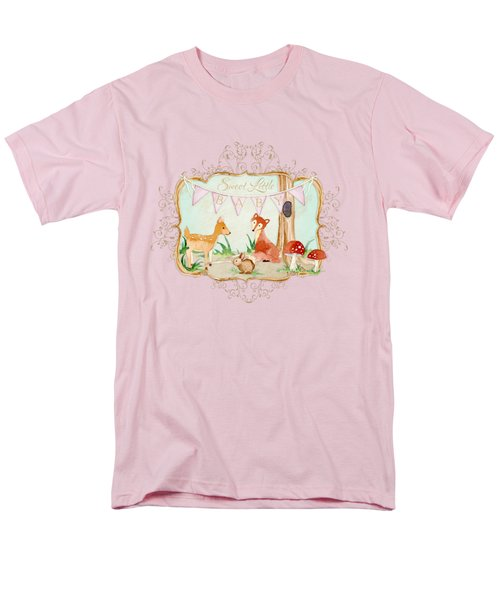 Men's T-Shirt  (Regular Fit) featuring the painting Woodland Fairytale - Banner Sweet Little Baby by Audrey Jeanne Roberts