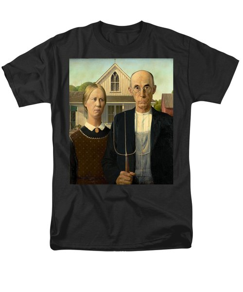 American Gothic Men's T-Shirt  (Regular Fit) by Grant Wood