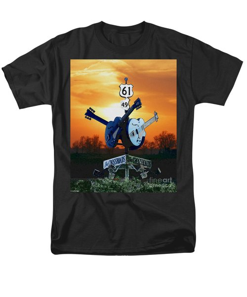 Crossroads Sunset  Blues Highway 61 Men's T-Shirt  (Regular Fit) by Lizi Beard-Ward
