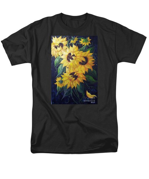 Men's T-Shirt  (Regular Fit) featuring the painting Dancing Sunflowers  by Eloise Schneider