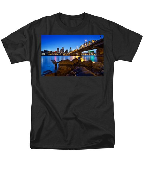 Men's T-Shirt  (Regular Fit) featuring the photograph Portland Oregon Skyline At Blue Hour by JPLDesigns