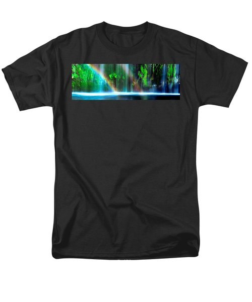 Rainbow Formed In Front Of A Waterfall Men's T-Shirt  (Regular Fit) by Panoramic Images