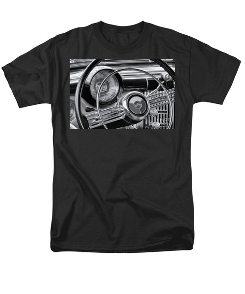 1953 Buick Super Dashboard And Steering Wheel Bw Men's T-Shirt  (Regular Fit) by Jerry Fornarotto