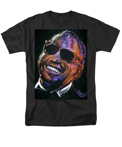 Men's T-Shirt  (Regular Fit) featuring the mixed media electric Ray Charles by Peter Suhocke