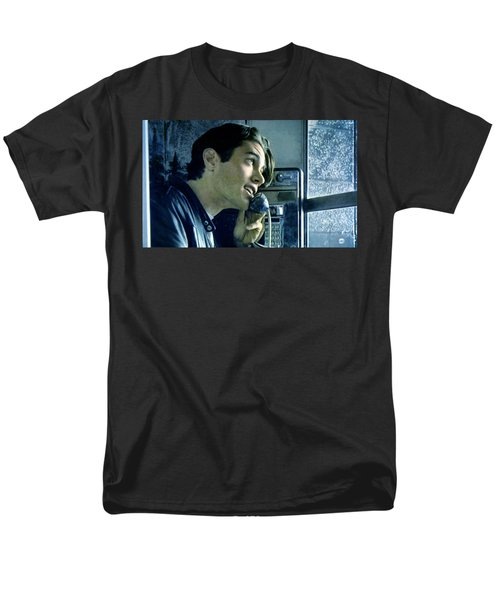 Men's T-Shirt  (Regular Fit) featuring the painting Leo Johnson Are You Telling Me There's No Santa Claus by Luis Ludzska