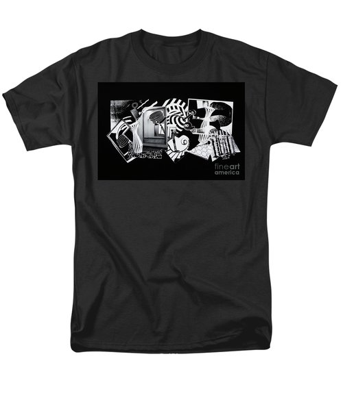 Men's T-Shirt  (Regular Fit) featuring the mixed media 2d Elements In Black And White by Xueling Zou