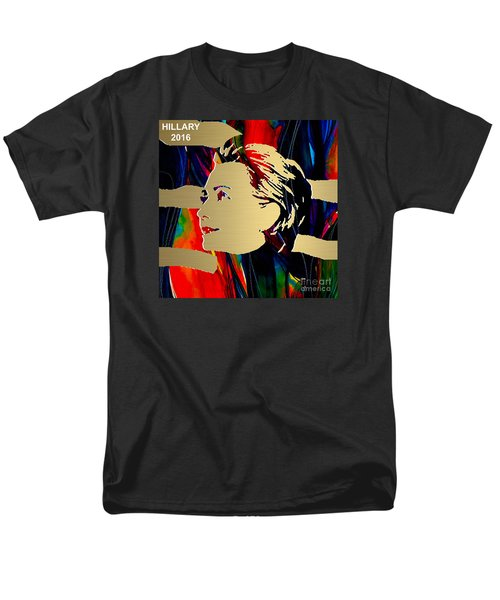 Men's T-Shirt  (Regular Fit) featuring the mixed media Hillary Clinton Gold Series by Marvin Blaine