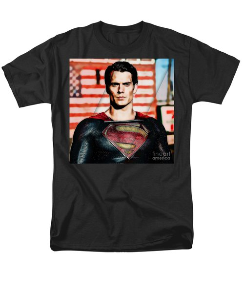 Men's T-Shirt  (Regular Fit) featuring the mixed media Superman by Marvin Blaine