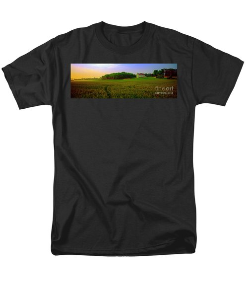 Men's T-Shirt  (Regular Fit) featuring the photograph  Conley Rd Spring Pasture Oaks And Barn  by Tom Jelen