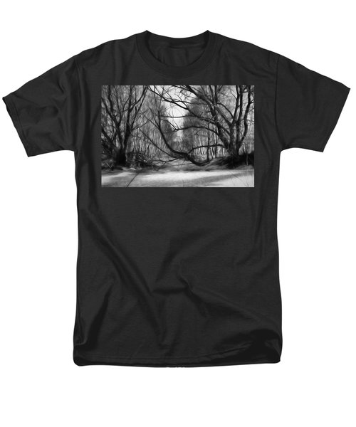 9 Black And White Artistic Painterly Icy Entrance Blocked By Braches Men's T-Shirt  (Regular Fit)