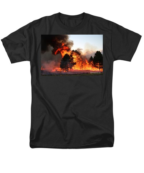 Men's T-Shirt  (Regular Fit) featuring the photograph A Burst Of Flames From The White Draw Fire by Bill Gabbert