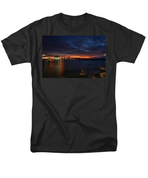 Men's T-Shirt  (Regular Fit) featuring the photograph a flaming sunset at Tel Aviv port by Ron Shoshani