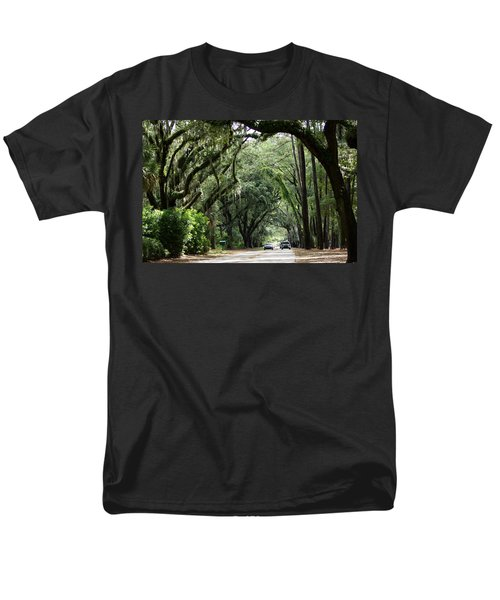A Pretty Tree Covered Road Somewhere On Hilton Head Island Men's T-Shirt  (Regular Fit) by Kim Pate
