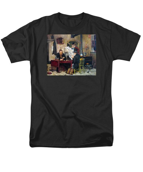 Men's T-Shirt  (Regular Fit) featuring the painting A Study Of Waiting For The Stage by Donna Tucker