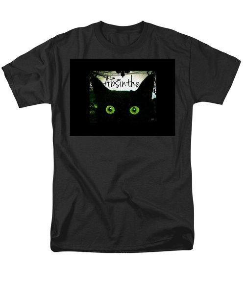 Men's T-Shirt  (Regular Fit) featuring the digital art Absinthe Black Cat by Absinthe Art By Michelle LeAnn Scott
